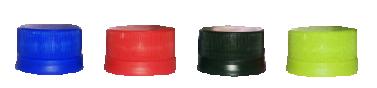 4色のペットボトルキャップ、赤、黒、青、緑