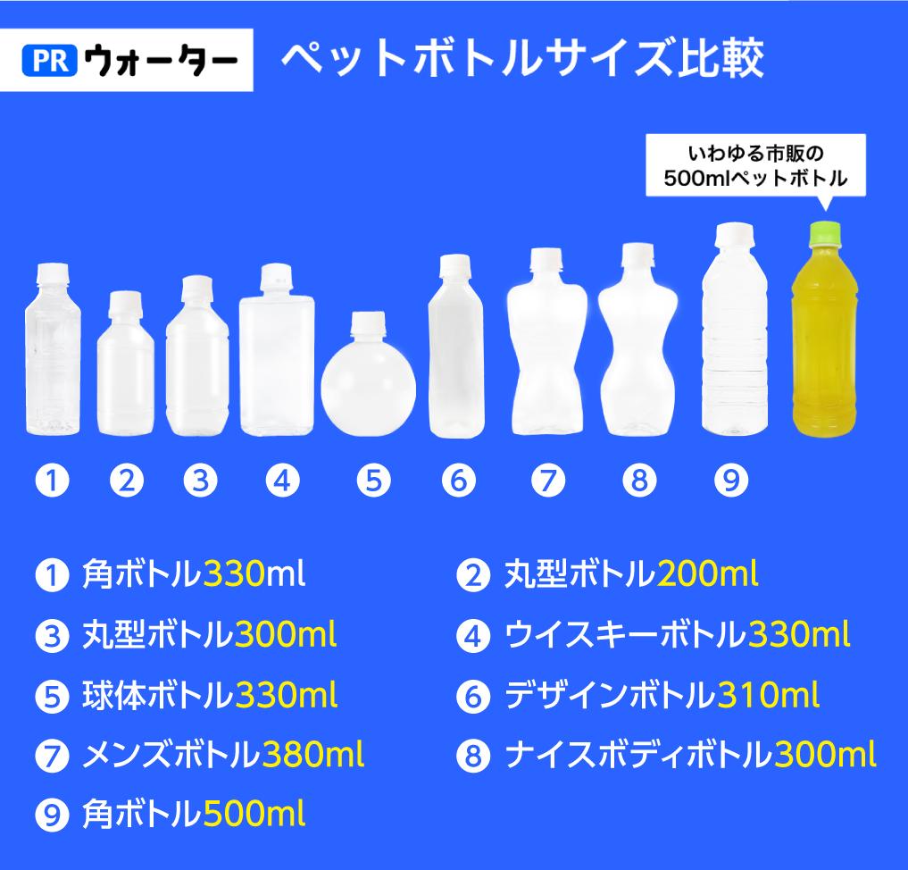 オリジナルペットボトル9種を並べたサイズの比較