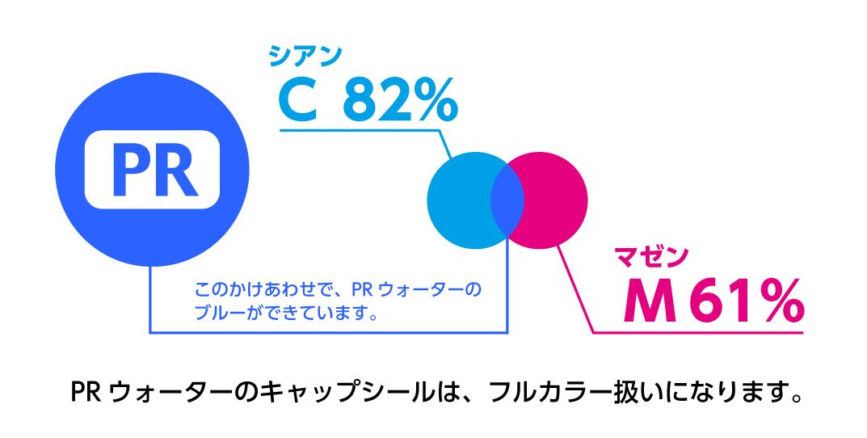 PRウォーターのキャップシールはC82%、M61%のフルカラー扱い