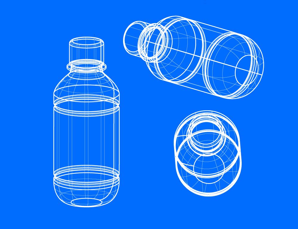 オリジナル形状のペットボトルの成形フロー