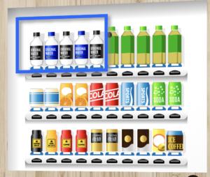 自動販売機内にペットボトル水を設置するイメージ