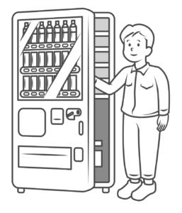 自動販売機をメンテナンス中のスタッフのイラスト